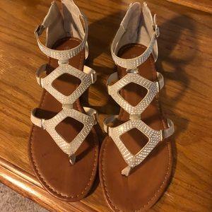 Tan gladiator style flat sandals